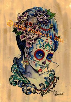 A4 Cardstock - Dia de los Muertos Day of the Dead Marie Antoinette Inspired Tattoo Girl - Print. $12.00, via Etsy.