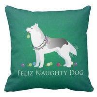 Wish | Silver Siberian Husky Feliz Naughty Dog Christmas Pillow case