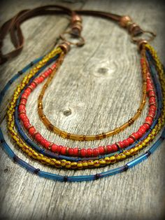 Bohemian Necklace, Long Layered Necklace, Tribal Beaded Necklace,  by StoneWearDesigns