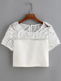 T-shirt en dentelle et crochet manche courte -blanc -French SheIn(Sheinside)