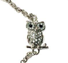 Crystal Owl Bracelet by MidnightHouseElves on Etsy