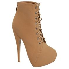 camel nu buck lace up almond toe workman high heel booties (22 CAD) ❤ liked on Polyvore featuring shoes, boots, ankle booties, heels, camel, high heel booties, laced boots, lace up heel booties, high heel boots and laced up booties
