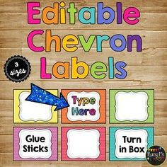 Cute editable chevron labels for organization, management, and decor for the classroom. They are editable and you can add your own text! All are chevron themed. I also have matching Pencil Cup Signs! Organization And Management, Classroom Organization, Classroom Management, Classroom Setting, Classroom Decor, Chevron Classroom, Book Box Labels, Chevron Labels, Bright Decor
