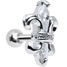 Clear Gem Charming Fleur De Lis Tragus Cartilage Earring