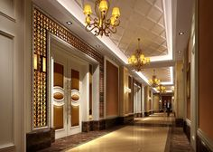 Chinese restaurant corridor design rendering