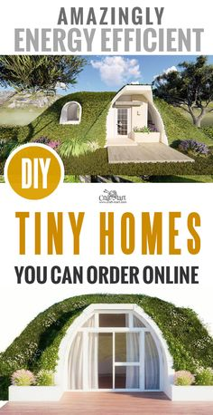 "We really like these ""Earth-Roofed"" tiny homes! You can order these prefab Tiny Homes from anywhere! Modular ""Hobbit hole"" units can be interconnected creating super energy-efficient habitats. Earth Sheltered Homes, Prefab Homes, Tiny Homes, Prefab Tiny Houses, Houses Houses, Underground Homes, 3d Home, Earth Homes, Earthship"