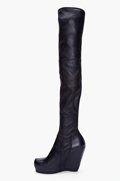 RICK OWENS Black Over The Knee Wedge Boots    FOREVER!!