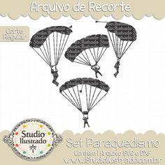 Skydiving Set, Set Paraquedismo, Paraquedas, Parachute, Voar, Fly, Esporte, Sport, Radical, Pára-quedas, Paracaídas, Corte Regular, Regular Cut, Silhouette, Arquivo de Recorte, DXF, SVG, PNG
