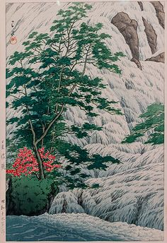 Virginia Museum of Fine Arts-7 Yudaki Falls, Nikko by Kawase Hasui