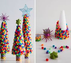 Pom Pom Trees | 30+ Holiday Crafts for Little Ones