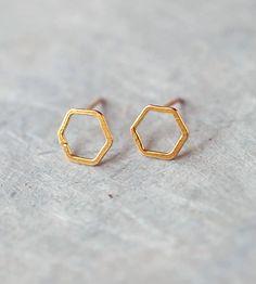 Open Hexagon Stud Earrings by Elaine B