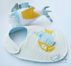 Matching bib and softy - cute 3D applique :)