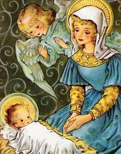 Mary and Jesus with angel