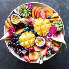 Time for yummy fruit breafast! #design #fruit #breakfast #time #for #plate #full #of #colour #morning #eat #love #smile #colourful #strawberry #ananas #passionfruit #blueberry  #cherry #apricot #kiwi #wednesday #morning #designers #picoftheday #instadaily #fit #yellow #green #red #healthy