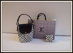 Bag dollhouse miniature 1:12 scale. 3Pcs LV by DesignBA on Etsy