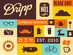 Dripp Coffee Vintage Retro pattern fun creative graphic design orange yellow blue mustache print branding boxes Dripp Brand Pattern by Salih Kucukaga Flat Illustration, Illustrations, Graphic Design Illustration, Digital Illustration, Web Design, Print Design, Flat Design, Design Color, Graphic Design Inspiration