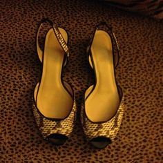 Reduced  Talbots Snakeskin Sandals Sz 6.5 Pre owned sandals purchased by me at the Talbots Outlet. I have worn them a couple times but they are just too small. Good condition. Shoes Sandals