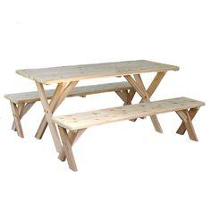 "Red Cedar 27"""" Wide Backyard Bash Cross Legged Picnic Table w/ Detached Benches"