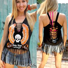 Diy Fringed Dreamy Racerback tank with sexy motorcycle skull Tattoo Biker Graphic! Love! Revamped slashed tee by Demi Loon
