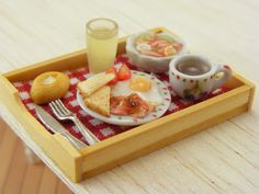 amazing miniature sculpture artist.  Eggs and Bacon - Breakfast in Bed Collection - 1:12 Scale Dollhouse Miniature Tray. $42.00, via Etsy.