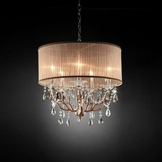 Furniture of America Cecelia Collection Ceiling Lamp with Hanging Crystals Curtain Lights, Ceiling Lights, Metal Ceiling, Candle Cups, Vase With Lights, Hanging Crystals, Beaded Curtains, String Curtains, Unique Lighting