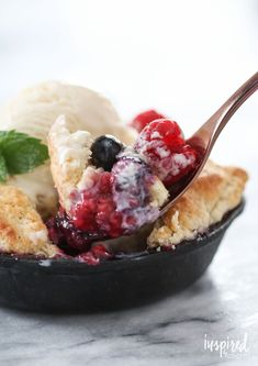 Mini Skillet Berry Cobblers