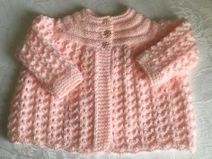 New Hand knitted Baby Girls Peach  Matinee cardigan fits 0-3 months