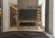 Comfort Project in Dnipro, Ukraine by Need Design Living Room Tv, Living Room Interior, Home Interior Design, Home And Living, Living Room Partition Design, Room Partition Designs, Master Bedroom Design, Modern Bedroom, Modern Tv Wall Units
