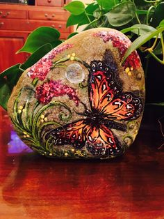 Pretty butterfly painted on stone!