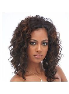 Sale Wigs Medium Wavy Brown No Bang African American Lace Wigs for