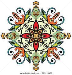 Mandala ornament, tribal ethnic pattern, islamic arabic indian motif, isolated decorative element for card design, t-shirt print. Vector fashion illustration, hand drawn background - stock vector
