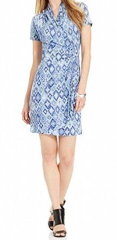 67e3ff46e Karen Kane Womens Blue Tile Cascade Wrap Dress Print Medium *** You can get