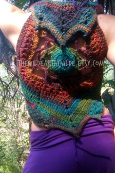 Psychedelia Crochet Mandala Pixie Vest Underbust Waistcoat Sweater - OOAK - Made To Order
