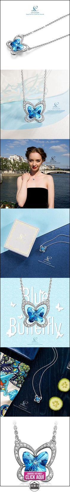 Lady colour Mariposa Collar mujer con cristales de Swarovski azul joyeria colgante regalos cumpleanos regalos dia de la madre regalos de san valentin regalos de Navidad color plata  ✿ Joyas para mujer - Las mejores ofertas ✿ ▬► Ver oferta: https://comprar.io/goto/B01DILCIVG