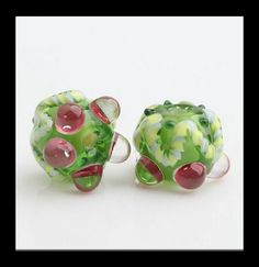 2 PCS Murano Glass Beads  Lampwork Beads by Girljewelrybox on Etsy