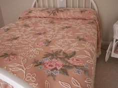 vintage chenille bedspread full 98x104 pink cabbage roses   eBay