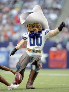 Rowdy the Dallas Cowboys mascot. He became the official team mascot in 1996.