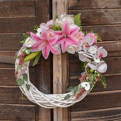Hydrangea / Svadobný veniec s ľaliou (XL) Grapevine Wreath, Grape Vines, Wreaths, Home Decor, Decoration Home, Room Decor, Vineyard Vines, Bouquet, Vines