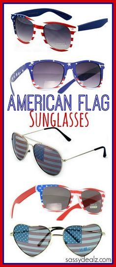 Adorable American Flag Sunglasses! These are so cute to wear on the 4th of july! Love the flag aviators the most!