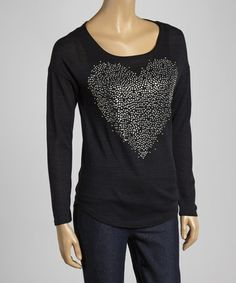 Look what I found on #zulily! Black Embellished Heart Burnout Top #zulilyfinds