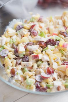 Creamy Macaroni Fruit Salad with a wonderful sweet, creamy, tangy crunch and combination of flavors perfect for a potluck meal or easy side dish! I'm ready to let go of the super hot summer days we' Best Chicken Salad Recipe With Apples, Macaroni Fruit Salad Recipe, Apple Salad Recipes, Chicken Salad Recipes, Pasta Recipes, Filipino Macaroni Salad, Filipino Fruit Salad, Macaroni Salads, Macaroni Pasta