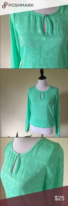LIMITED Textured Blouse Sheer Blouse from The Limited. Beautiful shade of green, keyhole neckline in front, rouching neckline in back, gold button closure on wrist cuff. Features elastic waistline for  sweet blousing effect, textured pattern. 100% polyester The Limited Tops Blouses