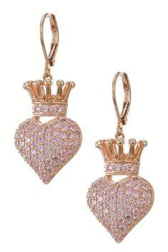 Crowned Heart Drop Earrings +