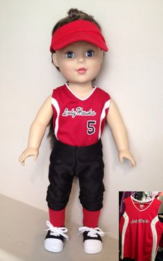 """Custom Softball Outfit fits 18"""" American Girl Doll. I know I'm 13 but I've always wanted one."""
