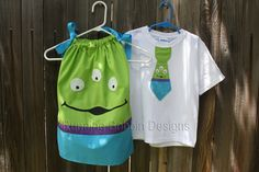Toy Story Little Green Men Alien Pillowcase Dress and Tie Shirt Brother Sister Matching Set. $48.95, via Etsy.
