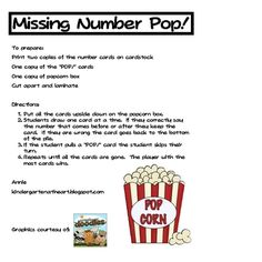 Here's a popcorn themed number game that focuses on identifying numbers before and after the numbers to 10-200.
