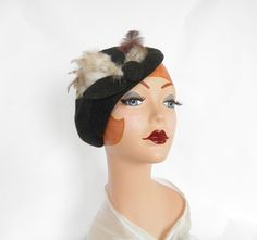 Gray tilt hat, vintage beret with feathers by TheVintageHatShop on Etsy