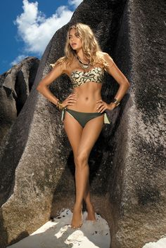 Supermodel Brown Swimsuit, women`s swimsuit, detachable straps, adjustable straps, metallic buckle, faux leather details, adjustable bikinis, elastic and fine fabric