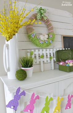 Easter Bunny in the Grass Wreath on our Easter Mantel at The Happy Housie