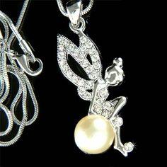 Swarovski Crystal Pearl Tinkerbell Pixie Magic Fairy Charm Pendant Necklace